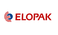 Elopak logo red and blue