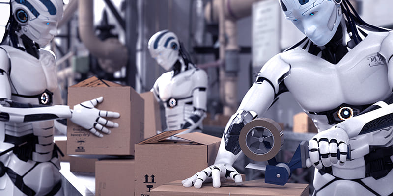 Robot packaging brown boxes in a warehouse