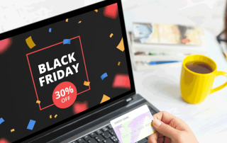 computer screen with black friday offer