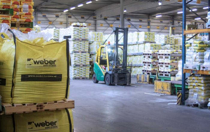 forklift in a Saint gobain warehouse